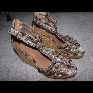 Franco Sarto cheetah print wedge heels